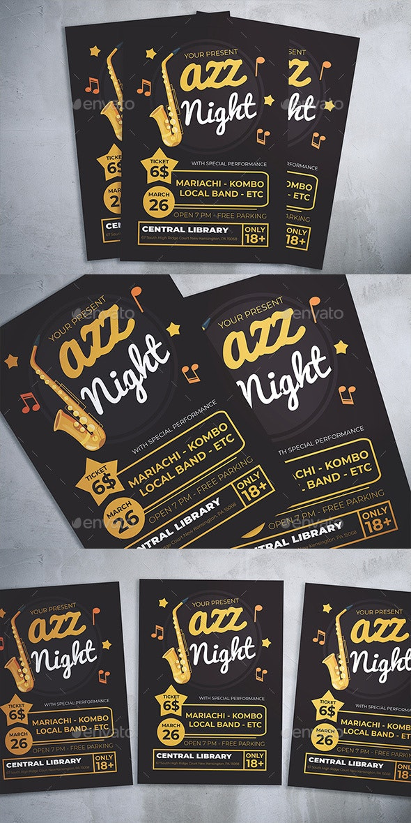 Jazz Night Flyer - Concerts Events