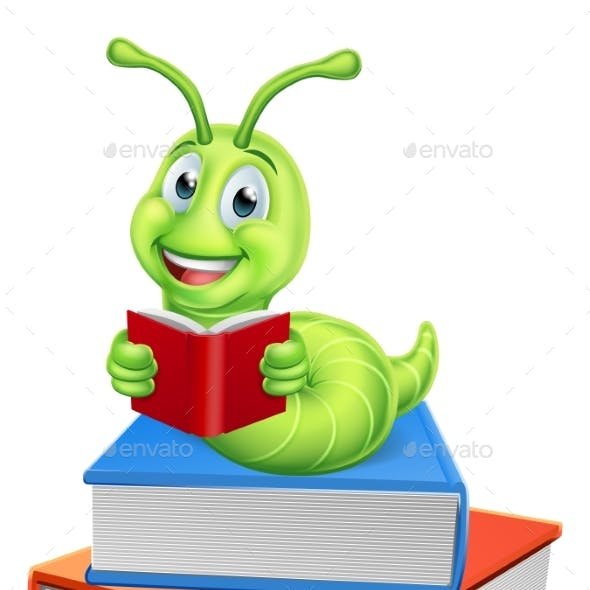 Caterpillar Bookworm Worm on Books Reading