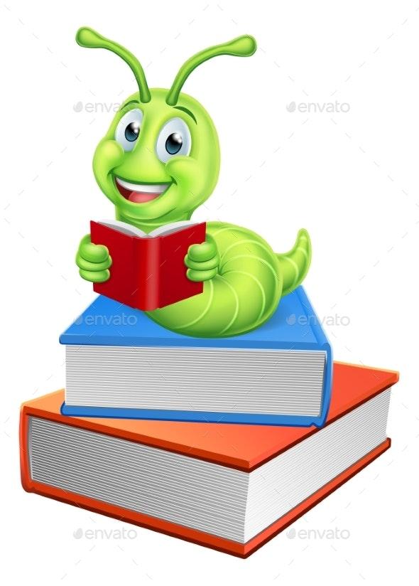 Caterpillar Bookworm Worm on Books Reading - Miscellaneous Vectors
