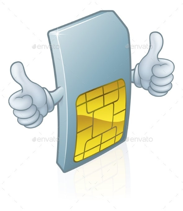 Mobile Phone Sim Card Mascot Cartoon - Technology Conceptual