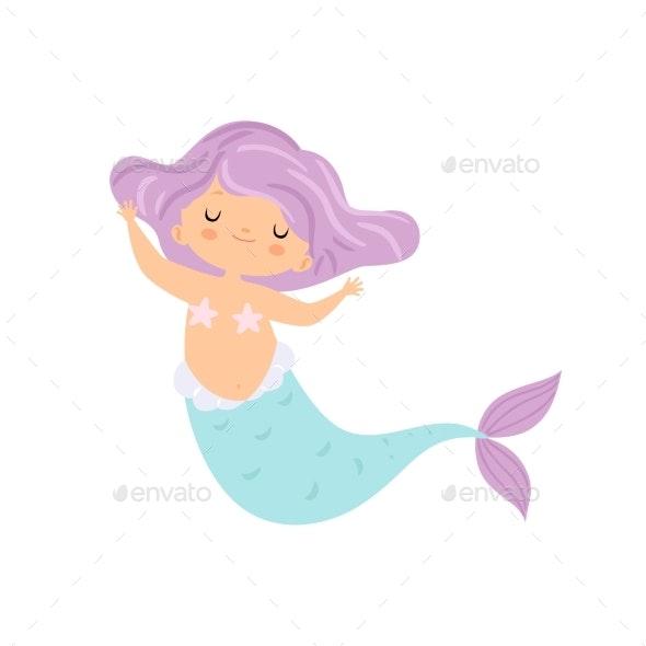 Mermaid with Violet Hair - People Characters