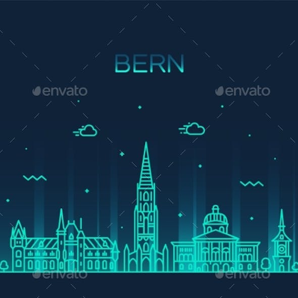 Bern Skyline Switzerland City Vector Linear Style