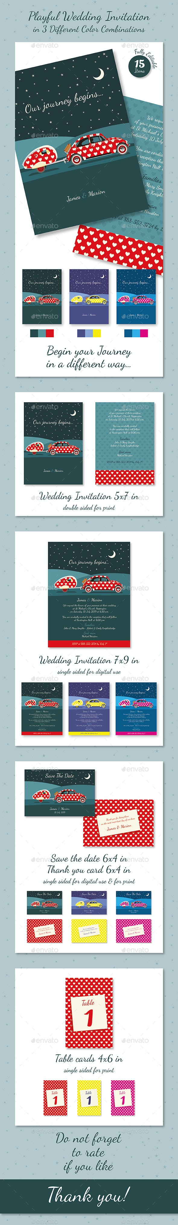 Playful Wedding Invitation in 3 Different Color Combinations - Weddings Cards & Invites