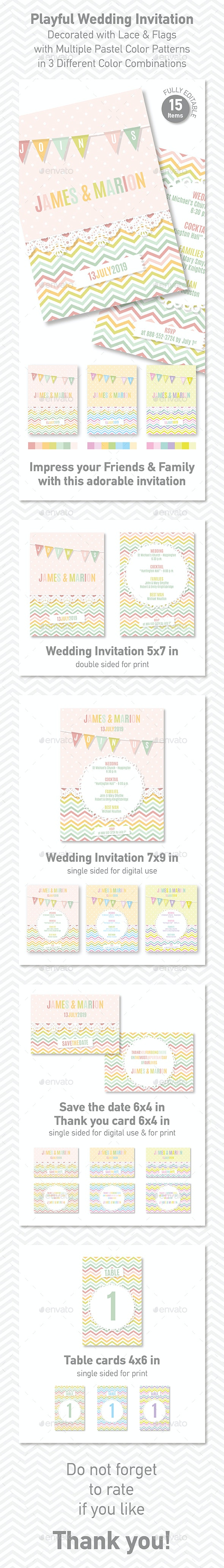 Playful Wedding Invitation Decorated with Lace & Flags - Wedding Greeting Cards