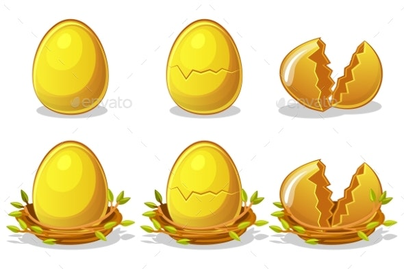 Golden Eggs in Birds Nest of Twigs. Vector Easter - Abstract Conceptual