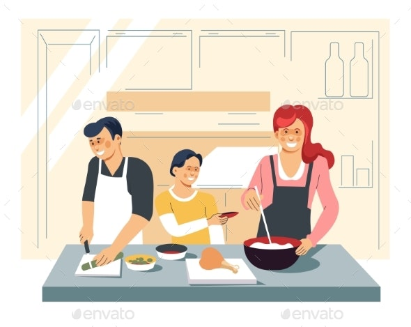 Family Cooking Dinner - Food Objects