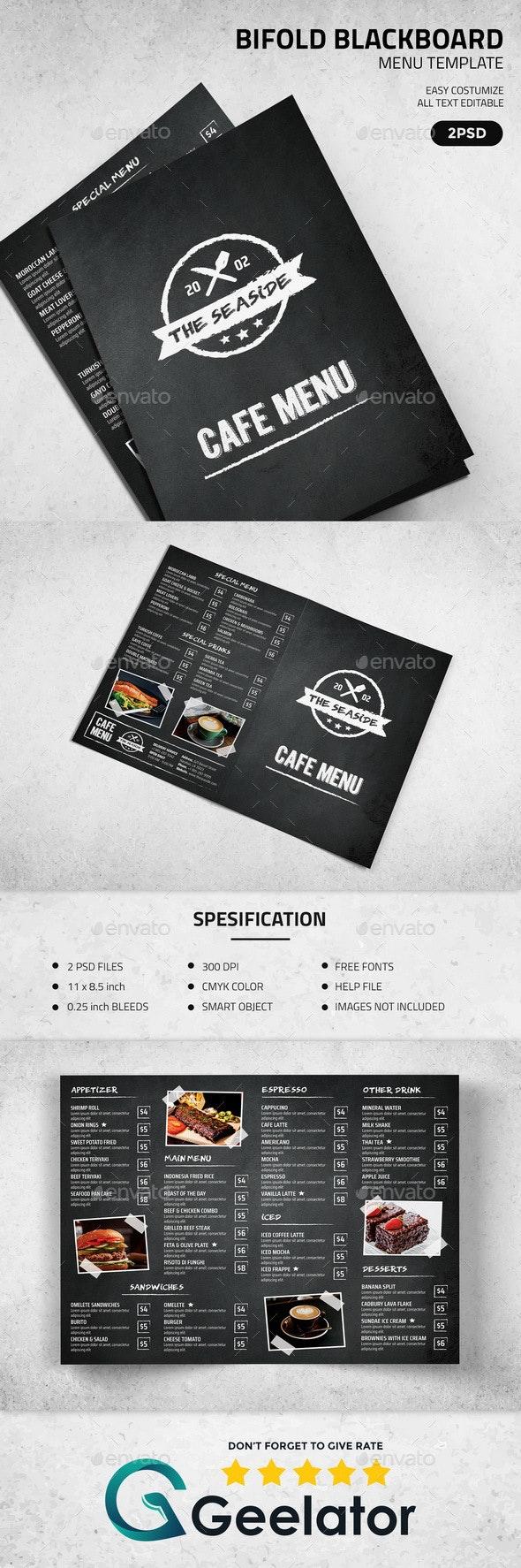 BiFold Blackboard Menu Template - Food Menus Print Templates