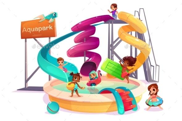 Multinational Kids in Water Park Cartoon Vector - Sports/Activity Conceptual