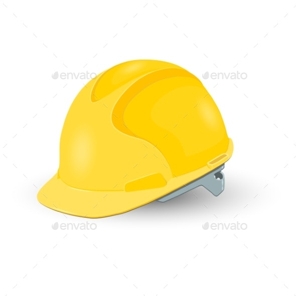 Yellow Safety Helmet Isolated on White Background - Industries Business