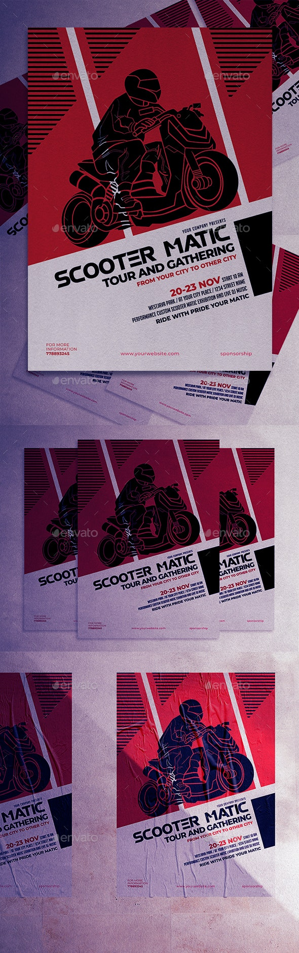 Scooter Matic Tour and Gathering Flyer - Clubs & Parties Events