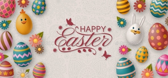 Easter Background with White Bunny, Chicken - Backgrounds Decorative
