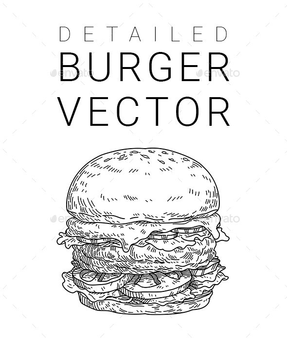 Detailed Burger - Food Objects