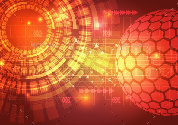 Digital Technology Circuit Abstract Background Vector Illustration - Computers Technology