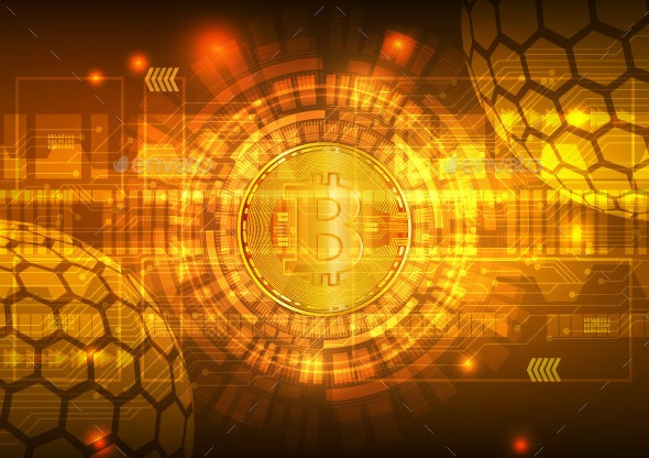 Bitcoin Digital Currency with Circuit Abstract Vector Background - Backgrounds Business