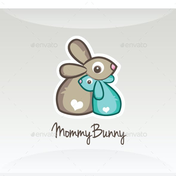 Mommy ( Mother ) Bunny  - Childcare Rabbit Logo