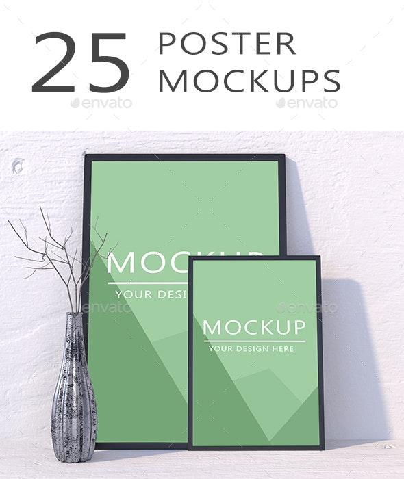 25 Poster Mockups - Posters Print