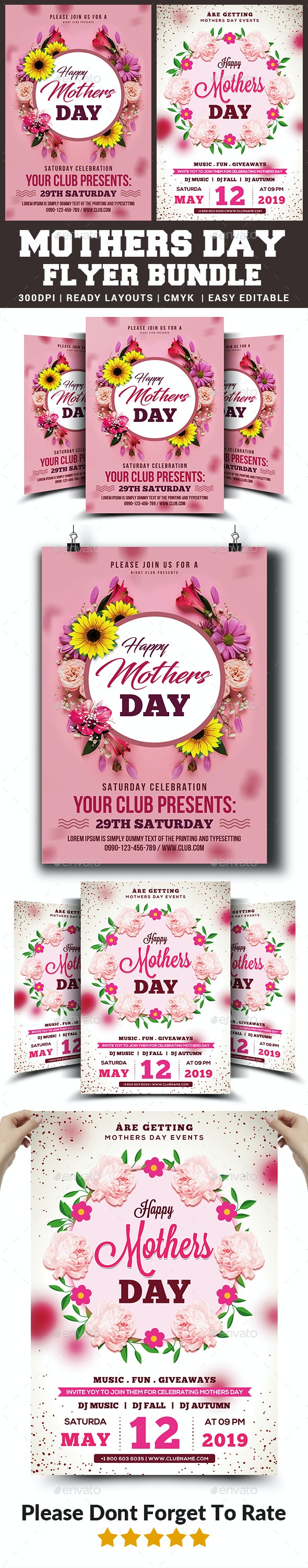 Mothers Day Flyers Bundle Templates - Clubs & Parties Events