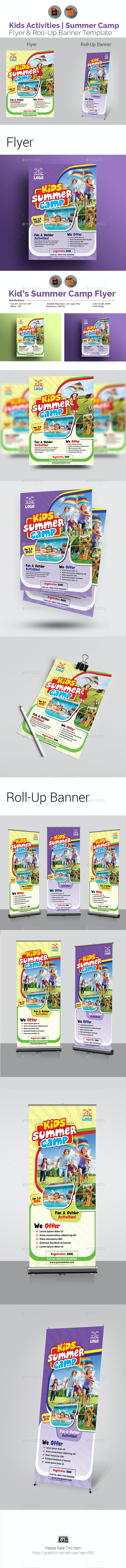 Kids Summer Camp Flyer with Rollup Bundle - Events Flyers