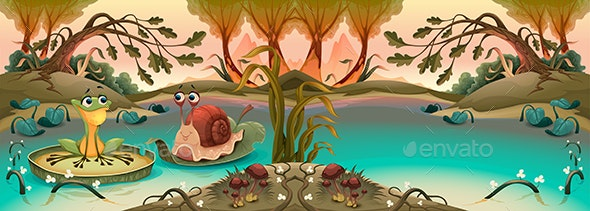 Friendship Between Frog and Snail in the Pond - Animals Characters