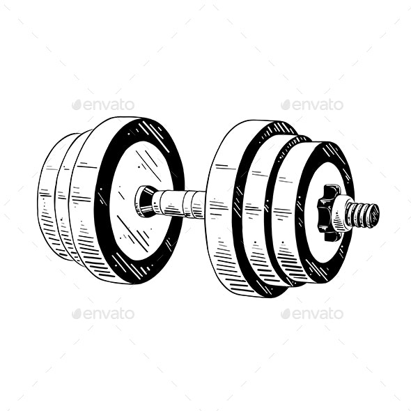 Hand Drawn Sketch of Dumbbell In Black - Sports/Activity Conceptual