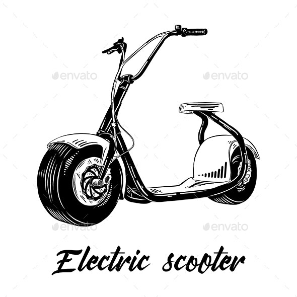 Hand Drawn Sketch of Electric Scooter - Miscellaneous Vectors