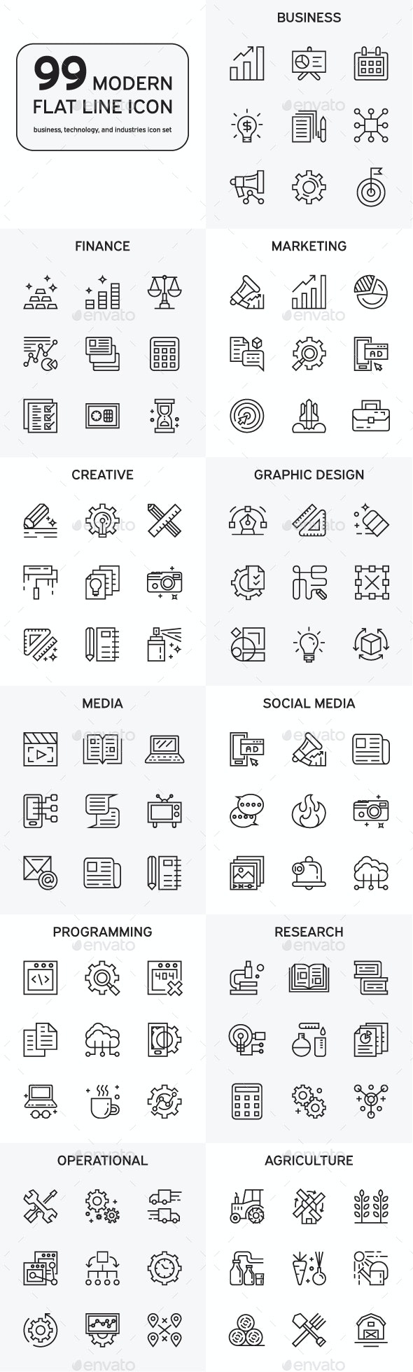 Set Of Modern Flat Line Icons - Icons