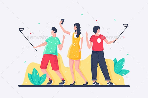 Young People Taking Selfies - People Characters