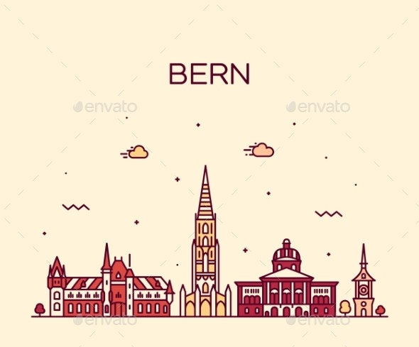 Bern Skyline Switzerland City Vector Linear Style - Buildings Objects