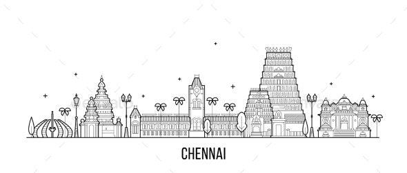 Chennai Skyline Tamil Nadu India City Vector Line - Buildings Objects