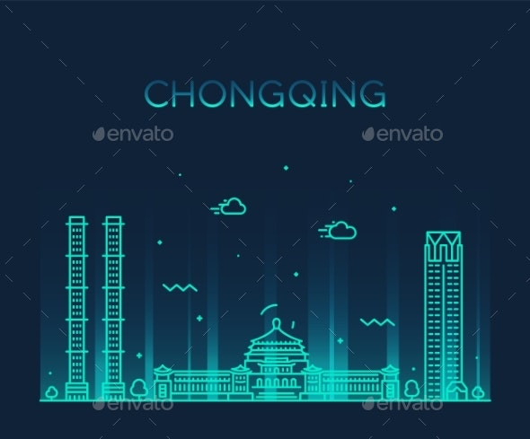 Chongqing Skyline Southwest China Vector Line City - Buildings Objects
