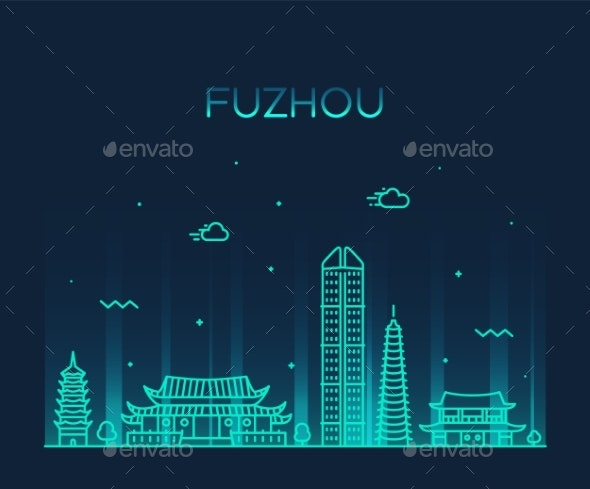 Fuzhou Skyline Fujian Province China Vector Linear - Buildings Objects
