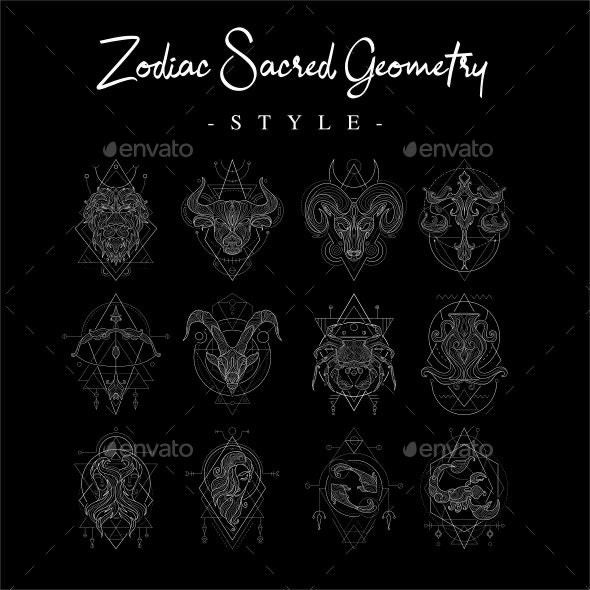 Zodiac Sacred Geometry Style - Decorative Symbols Decorative