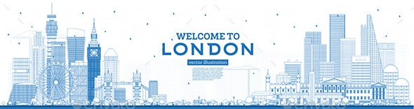 Outline Welcome to London England Skyline with Blue Buildings - Buildings Objects