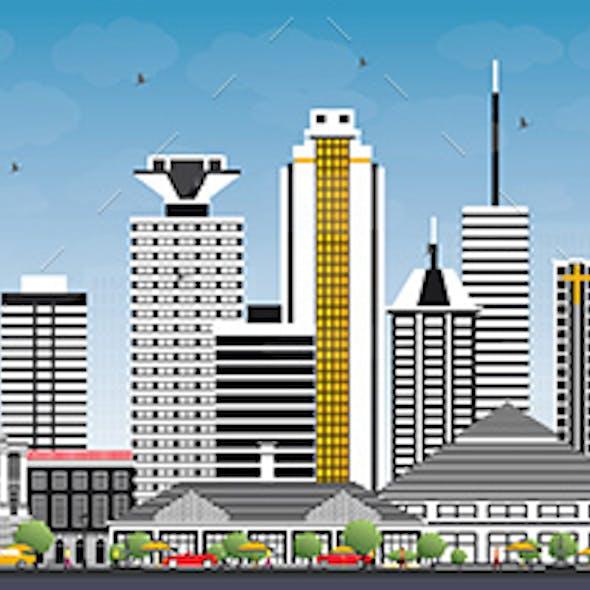 Nairobi Kenya City Skyline with Color Buildings and Blue Sky