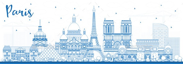 Outline Paris France City Skyline with Blue Buildings - Buildings Objects