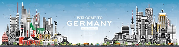 Welcome to Germany Skyline with Gray Buildings and Blue Sky - Buildings Objects