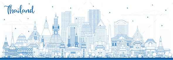 Outline Thailand City Skyline with Blue Buildings - Buildings Objects