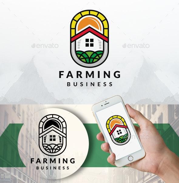 Farming House Emblem Logo - Buildings Logo Templates