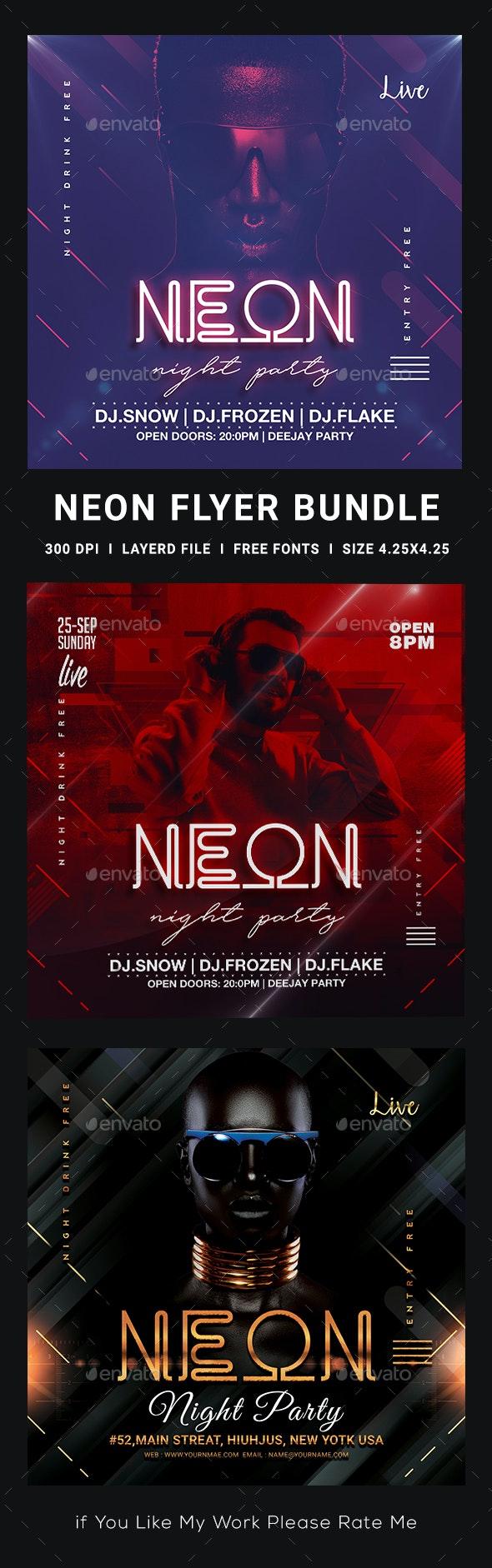 Neon Party Flyer Bundle - Clubs & Parties Events