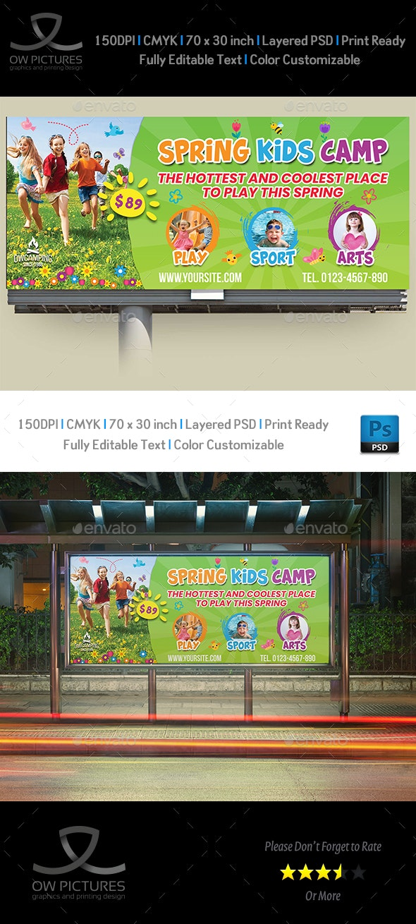 Spring Kids Camp Billboard Template - Signage Print Templates