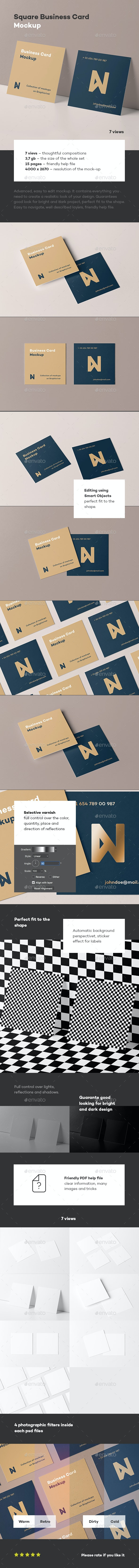 Square Business Card Mock-up - Business Cards Print