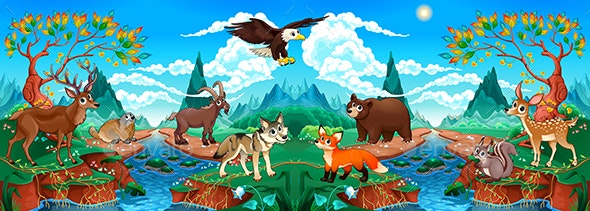 Wood Animals in a Mountain Landscape with River - Animals Characters