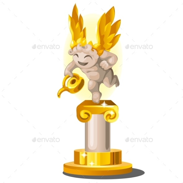 Statue Made of Gold and Stone in the Form of an Angel - People Characters