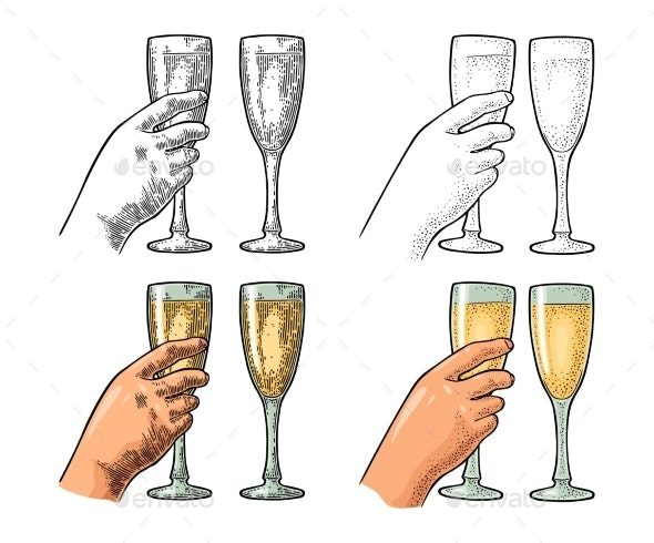 Female Hand Holding and Clinking Glass Champagne - Miscellaneous Vectors