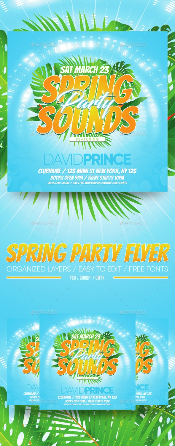 Spring Party Flyer - Clubs & Parties Events