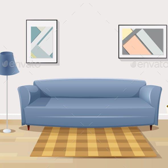 Comfortable Sofa in Living Room Cartoon Vector