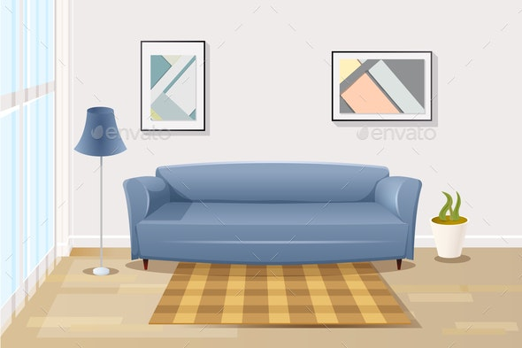 Comfortable Sofa in Living Room Cartoon Vector - Miscellaneous Vectors