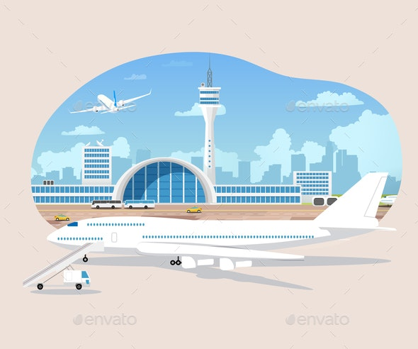 Airliners Waiting and Takeoff in Airport Vector - Travel Conceptual