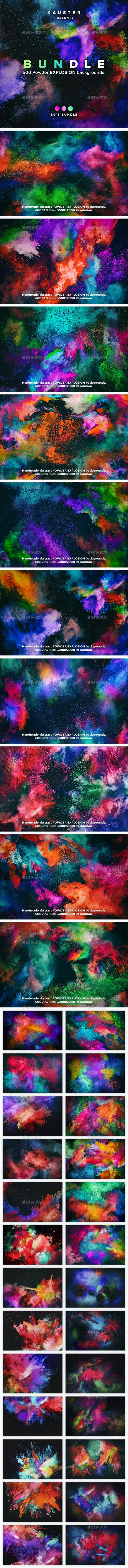 500 Powder Explosion Backgrounds Bundle - Abstract Backgrounds