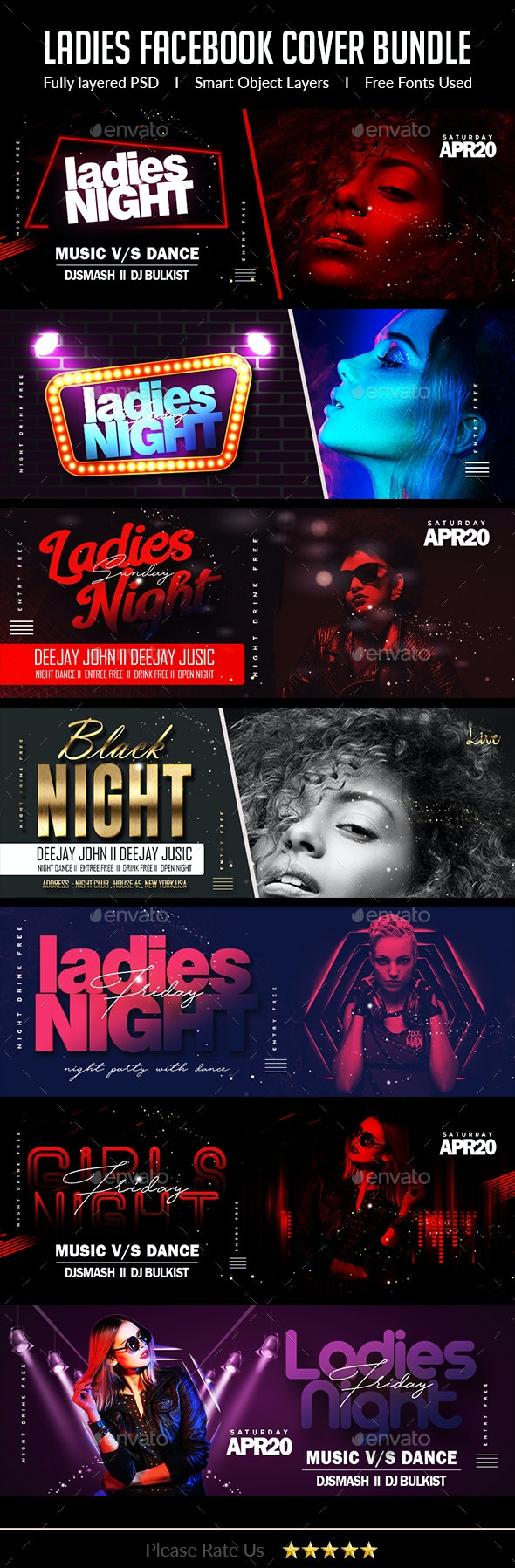 Ladies Night Club Facebook Cover Bundle - Facebook Timeline Covers Social Media